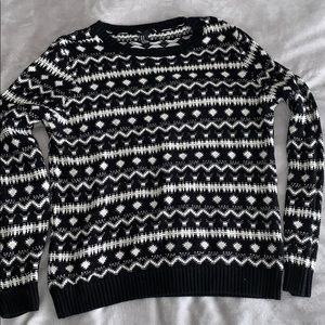 Holiday black and white sweater